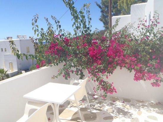 Akrotiri Hotel: La terrasse de la chambre avec vue mer