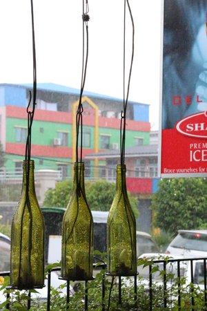 Repurposed Wine Bottles at Sharky's