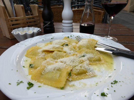 Delicious butter and sage ravioli with some house wine