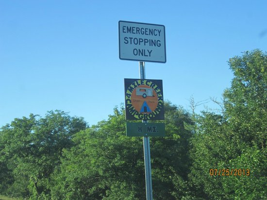 Four Mile Creek Campground: sign to four mile