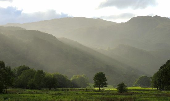 The Lancrigg: Early evening sun across the valley