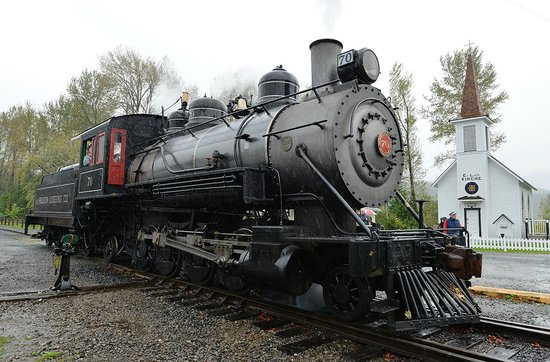 Mt. Rainier Scenic Railroad: #70 2-8-2 rod type steam locomotive pulled the train today.