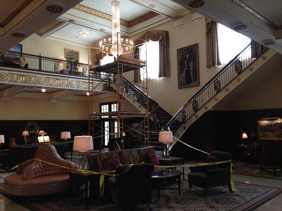 Hotel Settles: Chandelier install