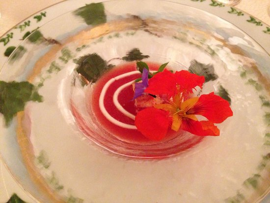 Bouley: Welcome from the chef: tomatoes with almond yogurt and crab. Magical!!