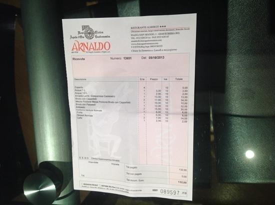 la ricevuta del ristorante Arnaldo a rubiera