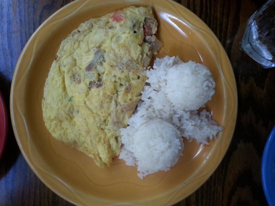 Poipu Tropical Burgers : Hawaiian omelette with rice