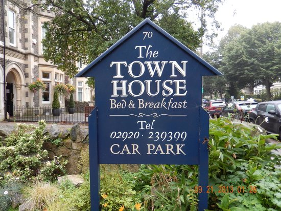 The Town House: The sign by Cathedral Road