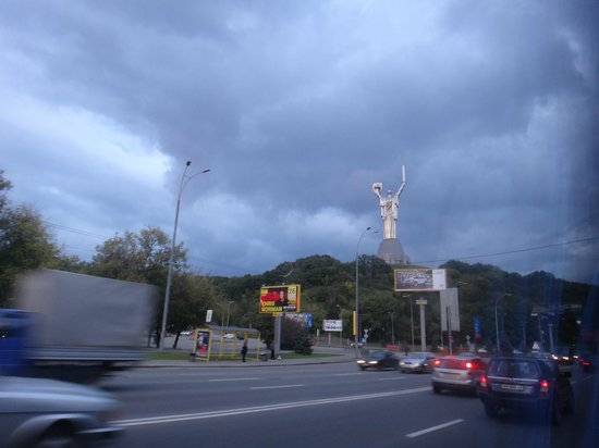 "11 Mirrors Design Hotel : The impressive ""Mother of the Fatherland/Motherland"" monument (glanced through the bus window)"