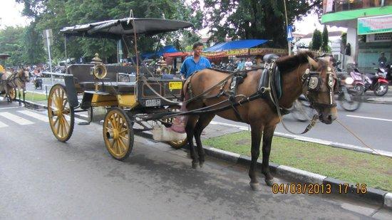 Hotel Ibis Yogyakarta Malioboro : An-dong = Horse carriage on Malioboro street