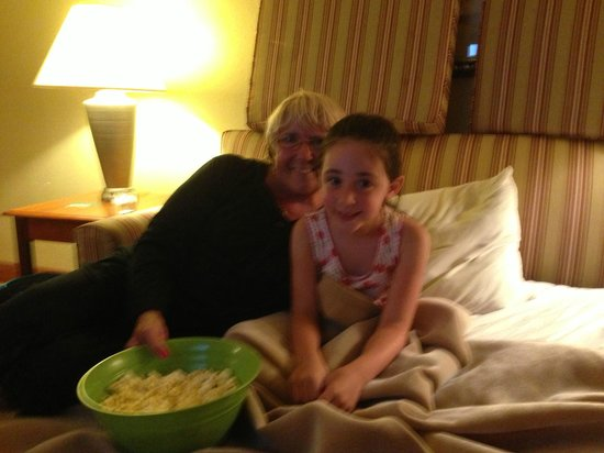 Homewood Suites by Hilton Princeton: enjoying our popcorn on the sleepover with grammie