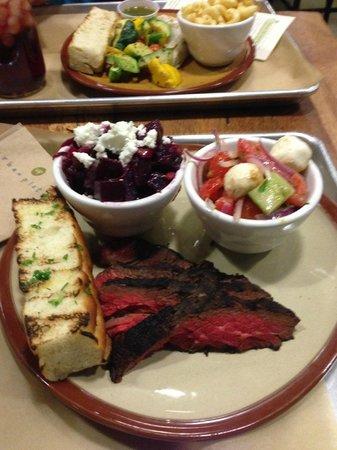 Urban Plates: steak, beet salad, tomato and mozzarella cheese salad