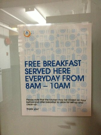 Hostelling International Vancouver Central: Breakfast Sign