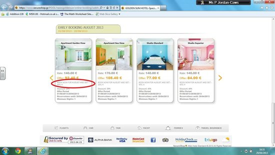 Golden Sun Hotel : Price went up to this on website, from 77 euros, and still charged us 110 euros!!!