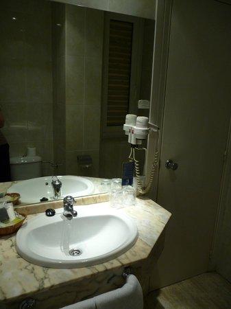 Sercotel Leyre: Entrance to the bathroom. Big mirror. Repainted door.