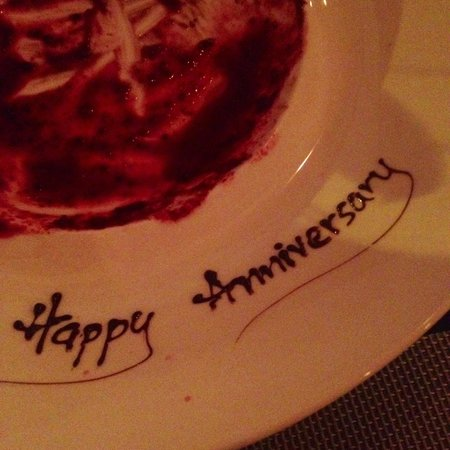 Dessert served with a personalised message
