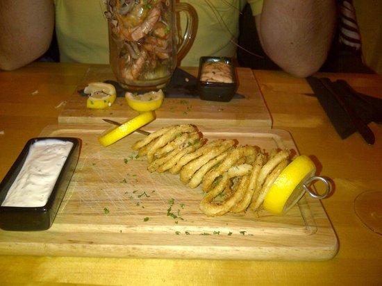 Hard Core Prawn: Calamari in Brooklyn Beer Batter - yum!