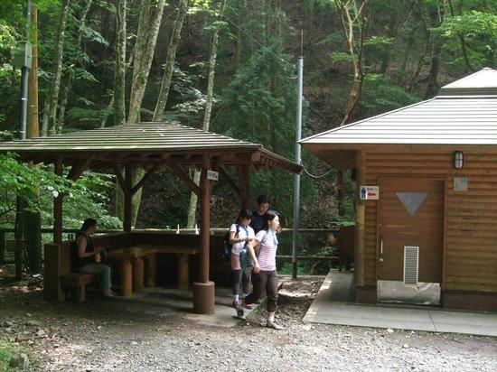 Kawazu Nanadaru Waterfalls: トンネルの脇にトイレと東屋があります