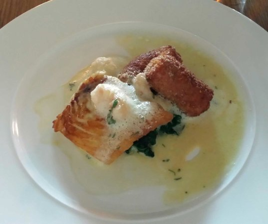 Crab & Boar Restaurant: Turbot Main, with Fennel Croquettes, Langoustine Tails & Pernod Cream
