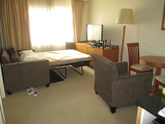 Canberra Waldorf Apartments Hotel : Nowhere for coffee table when sofabed in use. Only 2 chairs for small dining table
