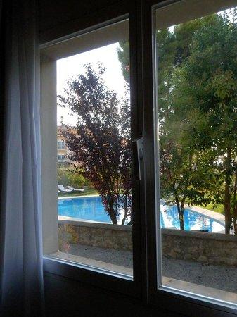 Hotel Villa de Biar: Ventana y piscina