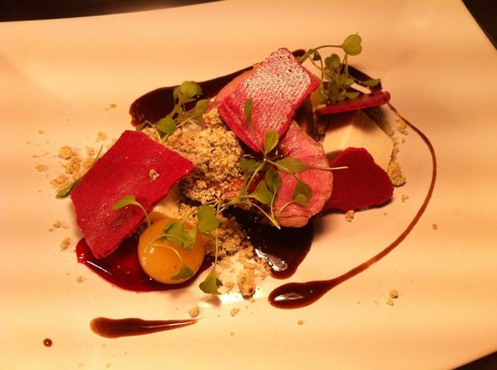 Tailors Restaurant: Cotswold lamb, goat cheese, pineapple and beetroot meringue
