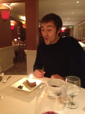 The Coach House Restaurant at the New London Inn: For folks from the Continent, a candle in dessert for B/Day is novel...!