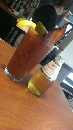 Blue's Egg: The veggie infused vodka bloody mary with a thick slice of bacon.  Yum