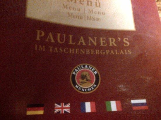 Paulaner's im Taschenbergpalais: menu