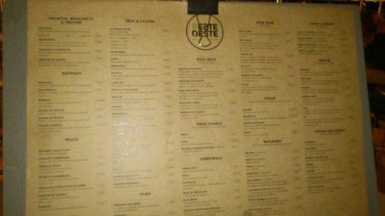 Este Oeste Pizza Sushi Cafe: menu kort