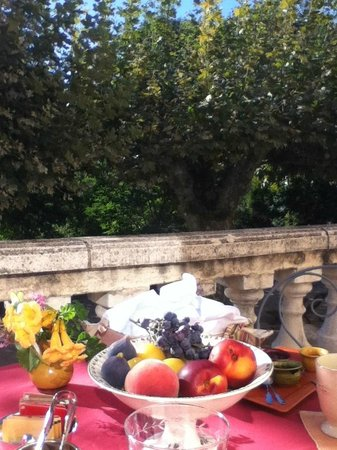 La Royante : Terrace Dining - fresh figs and grapes grown on their property
