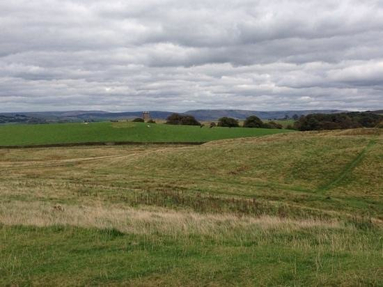 Lyme Park: View of the Cage over the rolling fields