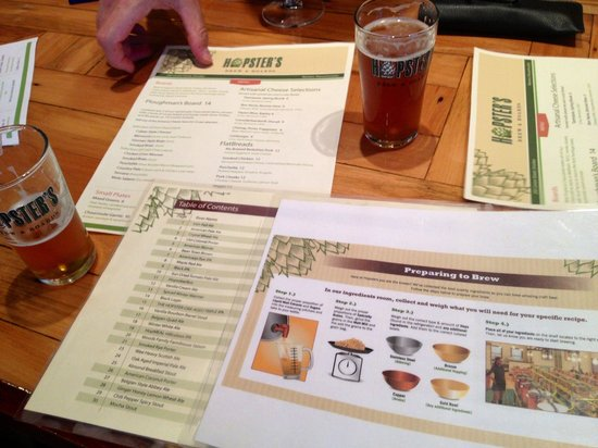 Hopsters Brew & Boards: Selection of menus - beer and food