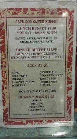 Cape Cod Super Buffet : prix