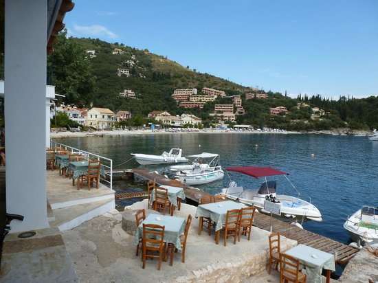 White House Restaurant : View from the Taverna over its terrace and across the bay
