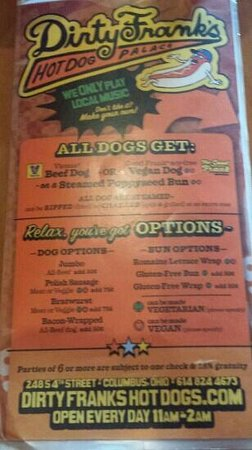Dirty Frank's Hot Dog Palace: Creative Menu