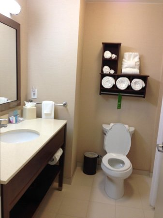 Hampton Inn and Suites Ocala: note the cute towel folded on shelf.