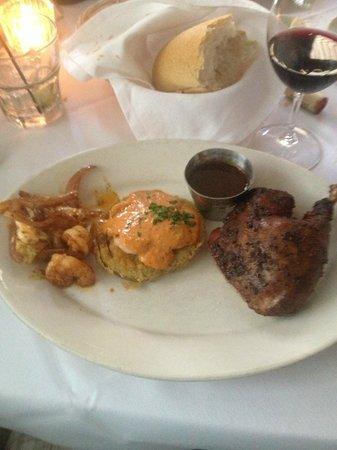 Upperline Restaurant: Shrimp, fried green tomato and duck - part of the Taste of New Orleans