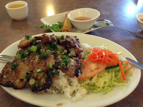 Pho Japolo: Marinated pork chop and lemon grass chicken on rice