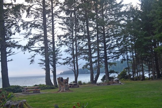 Sooke, แคนาดา: Nice picnic area and lawn next to the beach