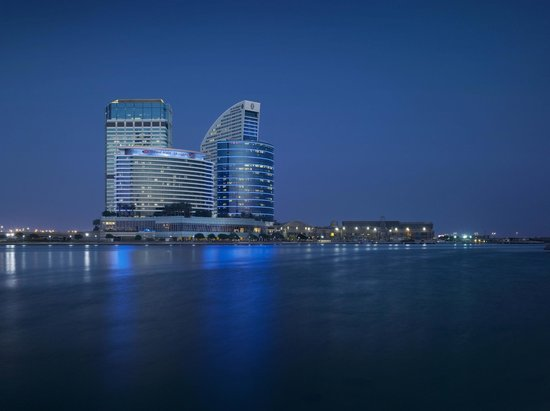 Crowne Plaza Dubai Festival City: Hotel Exterior from Business Bay