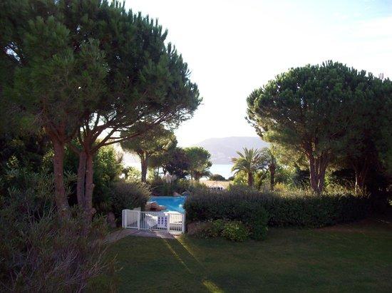 Hôtel Marina Corsica : Piscine vue mer depuis la chambre