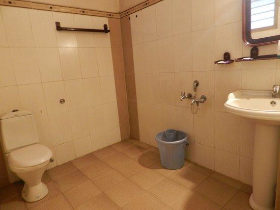 Hotel Akshaya: the bathroom of Deluxe double bed room.