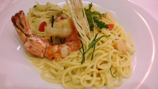Restaurant am Chinesischen Turm: Seafood spaghetti