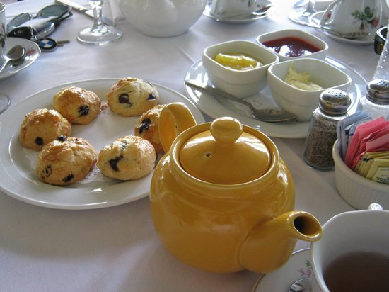 Sherman Library & Gardens: Awful afternoon tea with liquid jam and processed cream