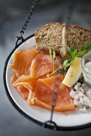 Prawn on the Lawn: Our Smoked Salmon with shallots, capers and dill creme fraiche