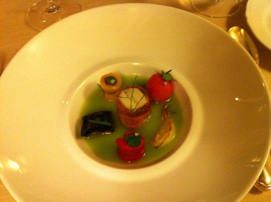 Da Caino : Green tomatoes centrifuged, roast codfish & seasonal herbs