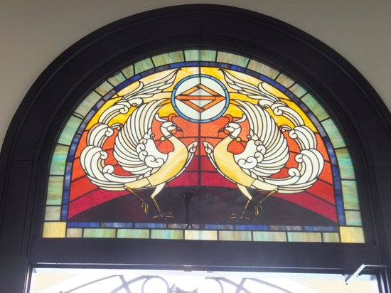 Yokohama Port Opening Hall: the beautiful color  stained glass at L2