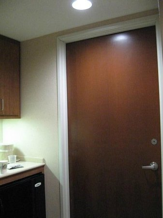 Holiday Inn Grand Rapids - Airport : Bathroom door closed (view from room)