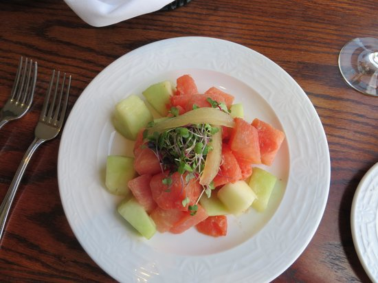 Black Bass Hotel Restaurant: Melon salad with lemon grass and cilantr