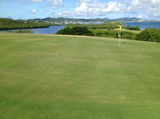 Buccaneer Golf Course: Hole number 15th Christiansted Town in the back ground.